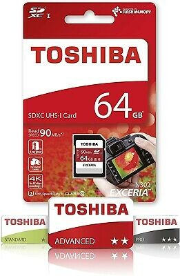 Toshiba Exceria N302 64GB SD Memory Card 90 MB/s 4K HD - THN-N302R0640E4 - Black