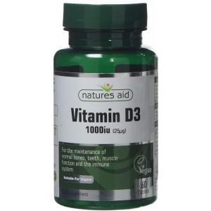 Natures Aid Vegan Vitamin D3 Tablets, 1000 iu, Count 60