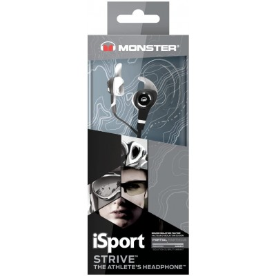 Monster iSport Strive In-Ear Headphones with Mic v3 - In-Ear with Mic - Black