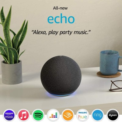 Amazon Echo (4th generation) | With premium sound, smart home hub and Alexa | Charcoal