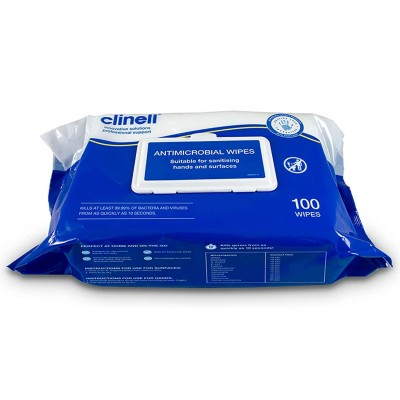 Clinell Antimicrobial Hand and Surface Wipes x100